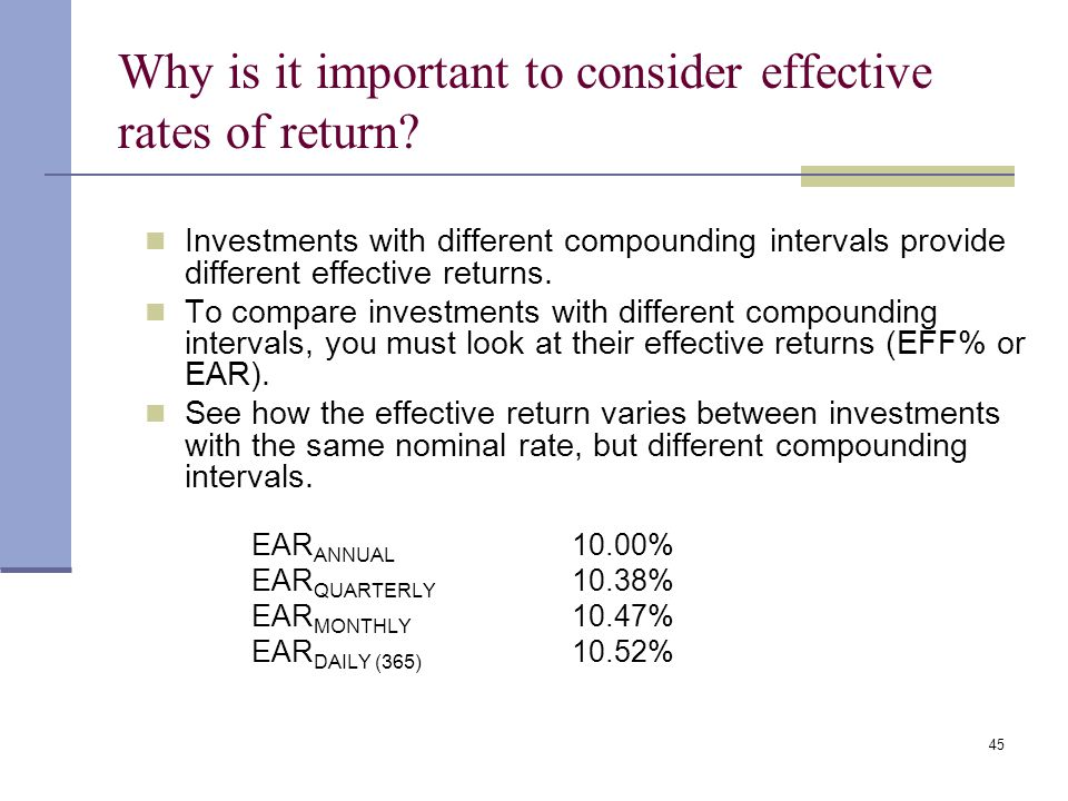Why is it important to consider effective rates of return