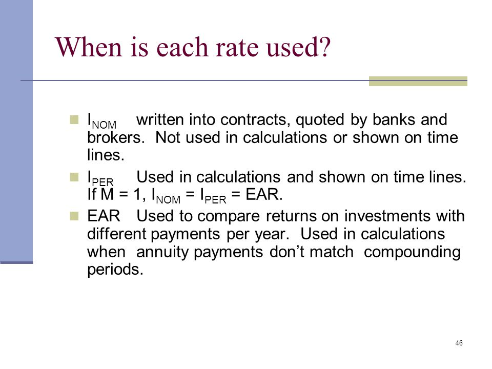 When is each rate used INOM written into contracts, quoted by banks and brokers. Not used in calculations or shown on time lines.