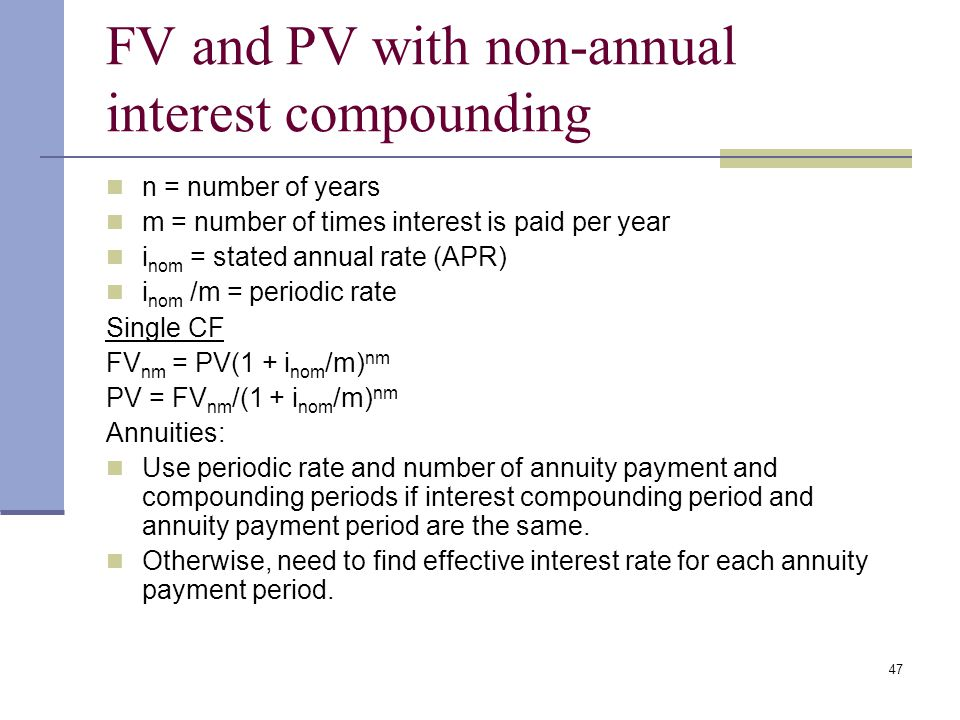 FV and PV with non-annual interest compounding