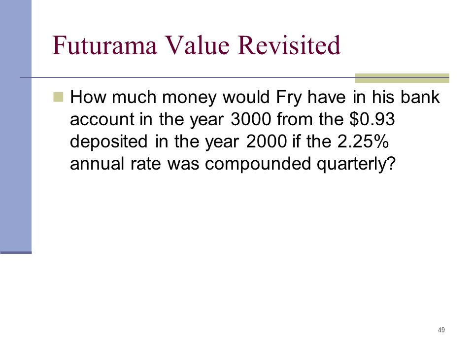 Futurama Value Revisited
