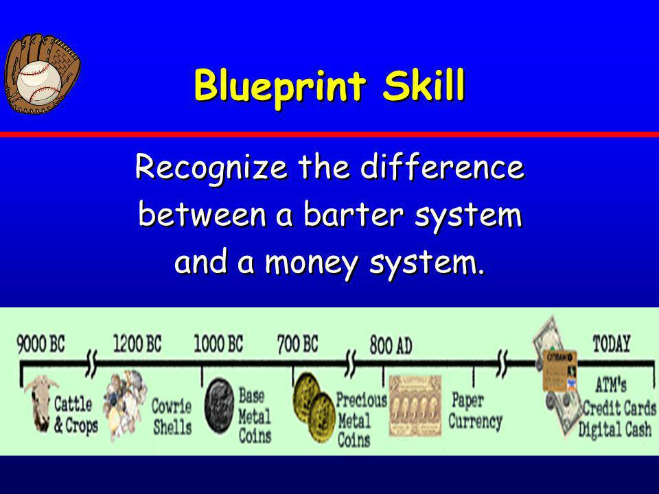 Blueprint Skill Recognize the difference between a barter system