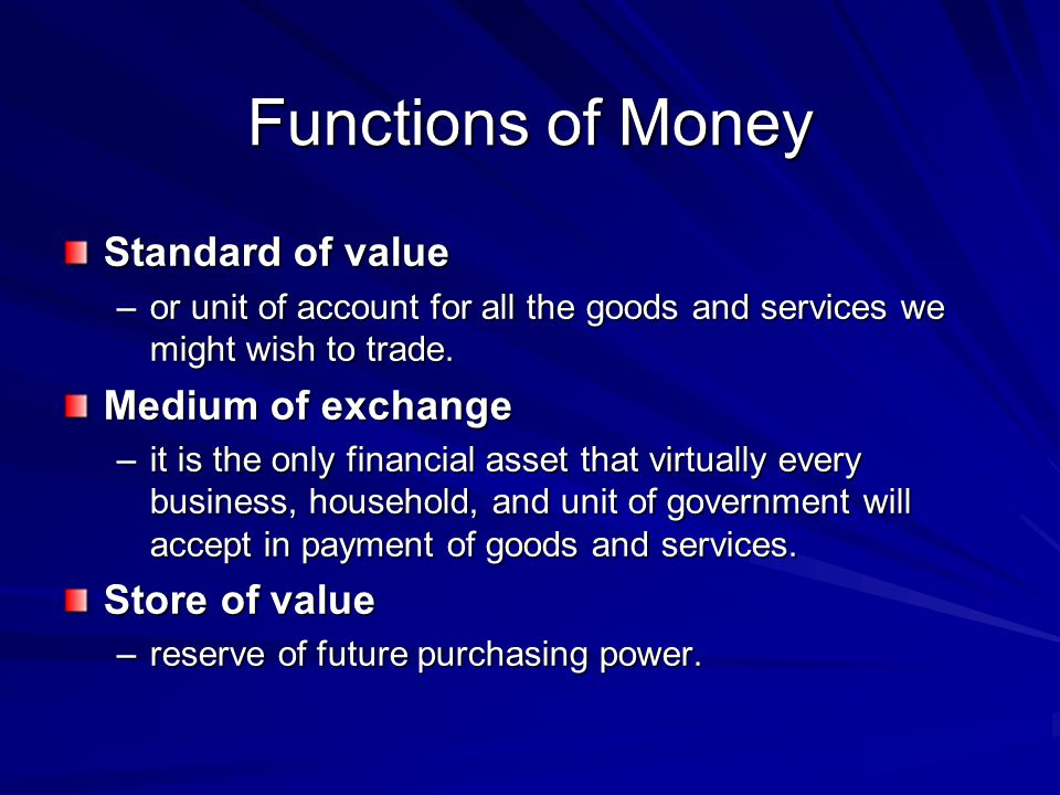 Functions of Money Standard of value Medium of exchange Store of value