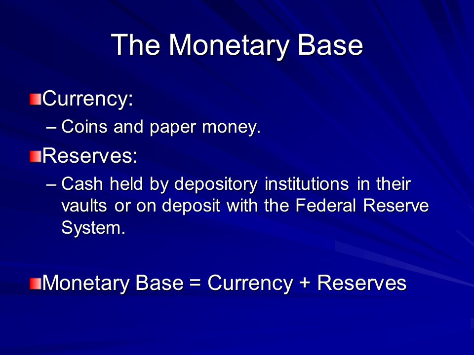 The Monetary Base Currency: Reserves: