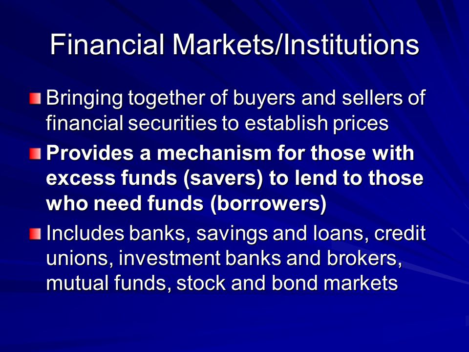 Financial Markets/Institutions