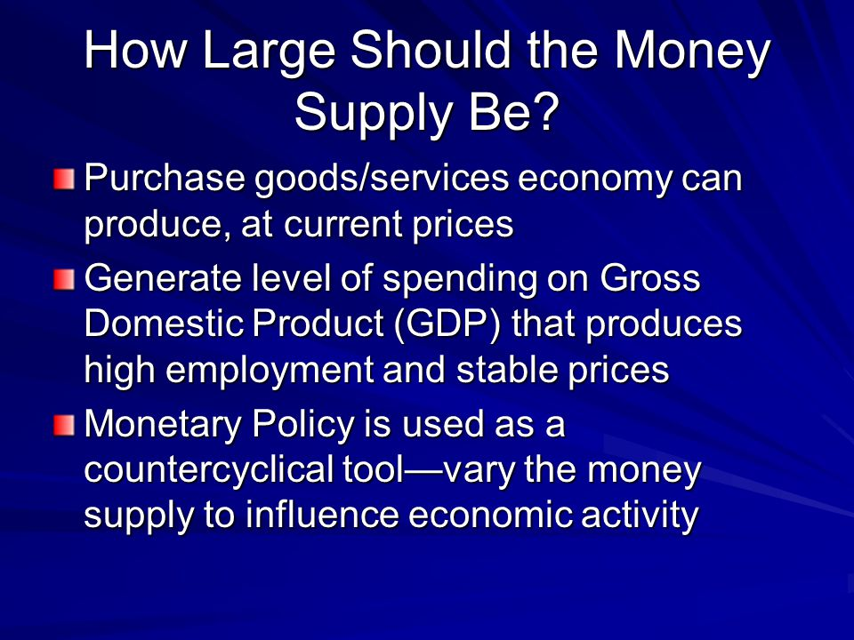 How Large Should the Money Supply Be
