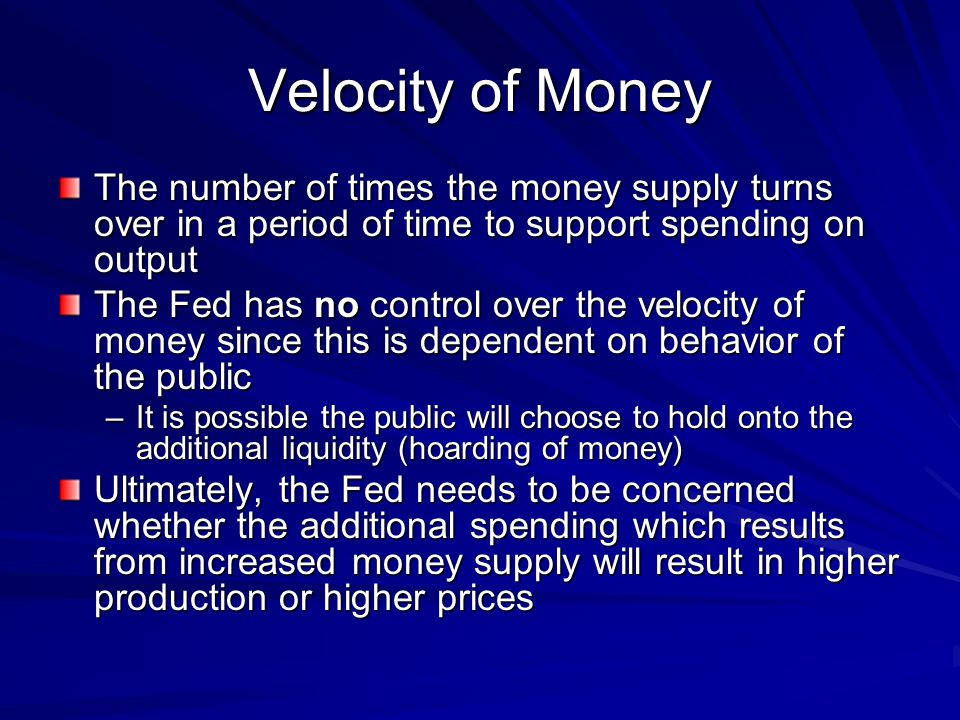Velocity of Money The number of times the money supply turns over in a period of time to support spending on output.