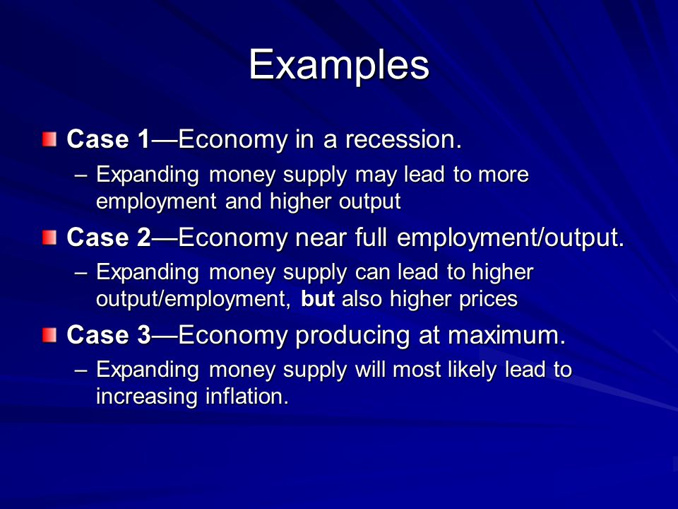 Examples Case 1—Economy in a recession.