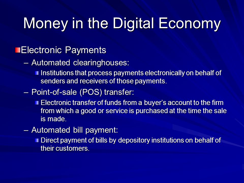 Money in the Digital Economy