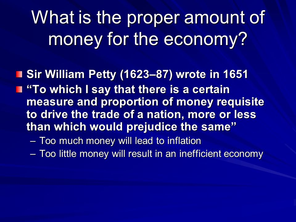 What is the proper amount of money for the economy