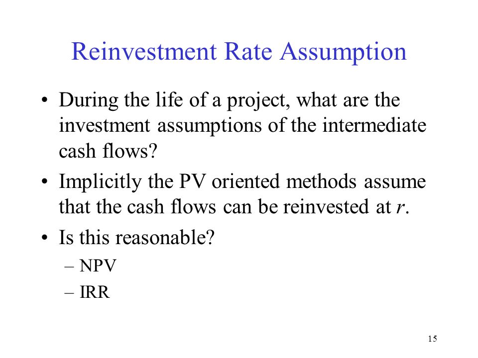 Reinvestment Rate Assumption