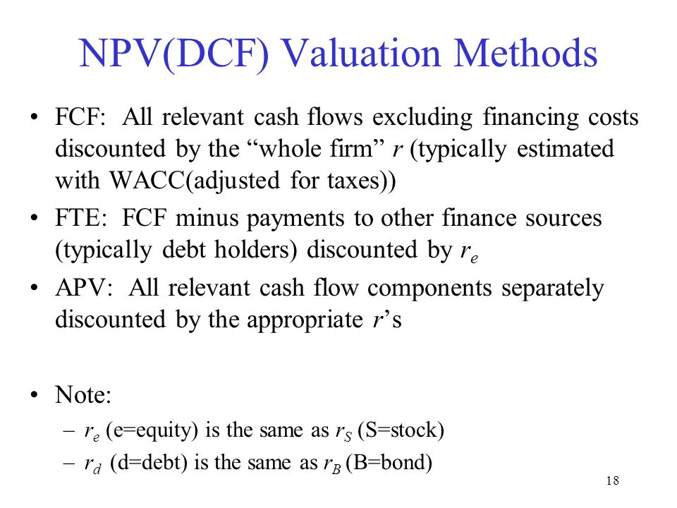 NPV(DCF) Valuation Methods