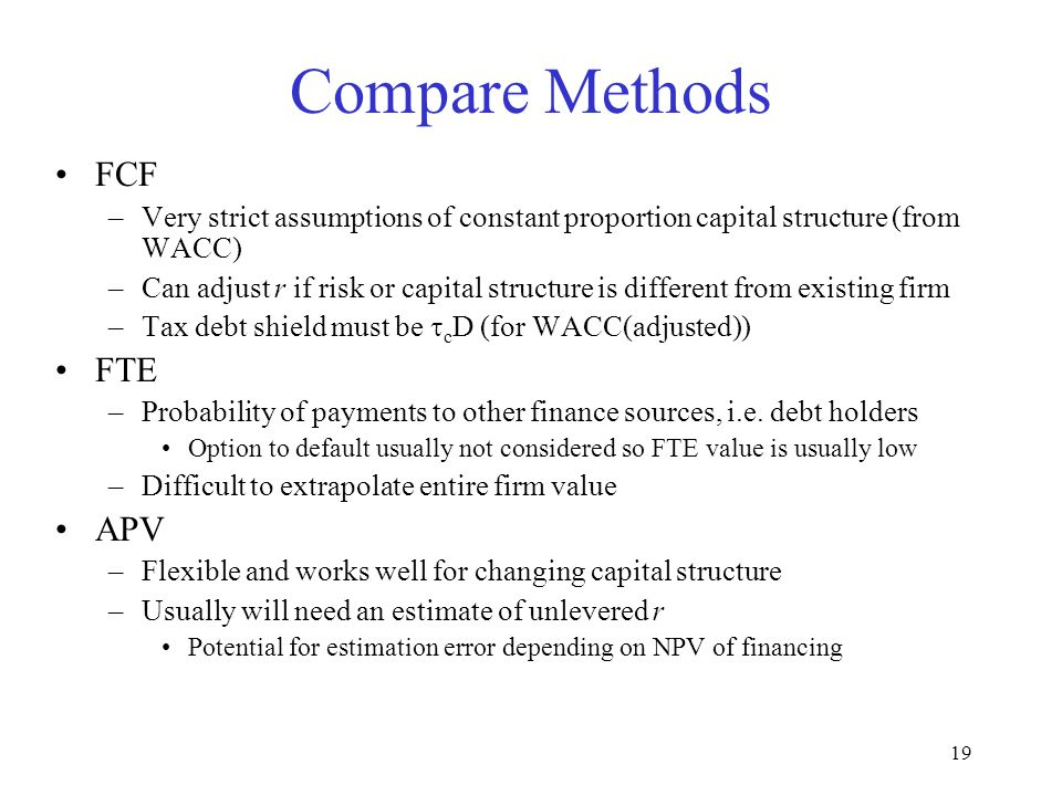 Compare Methods FCF FTE APV