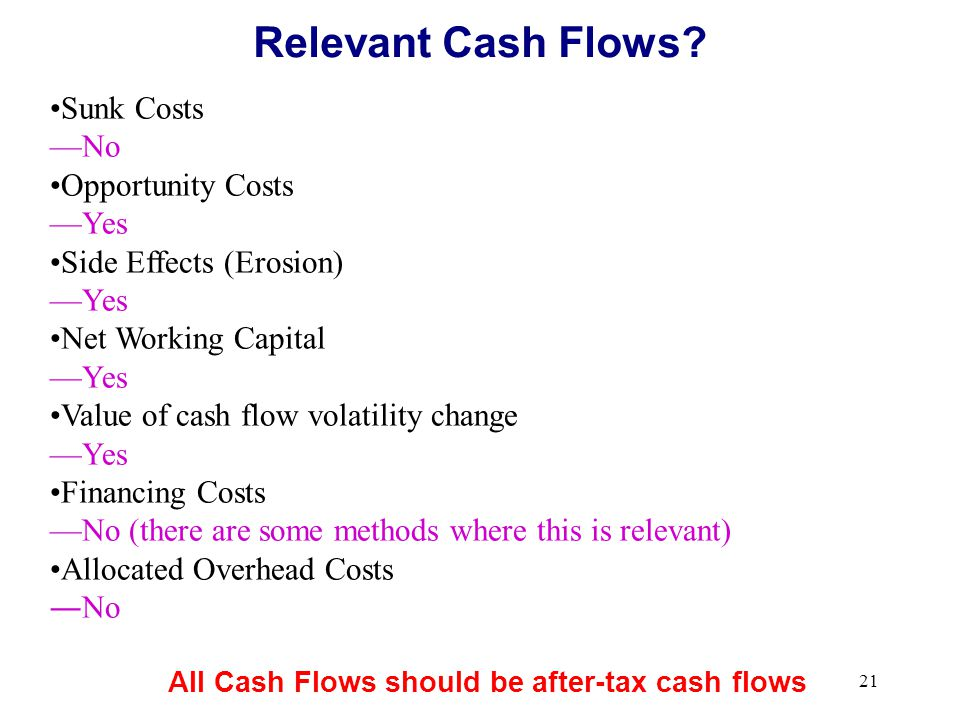 Relevant Cash Flows Sunk Costs No Opportunity Costs Yes