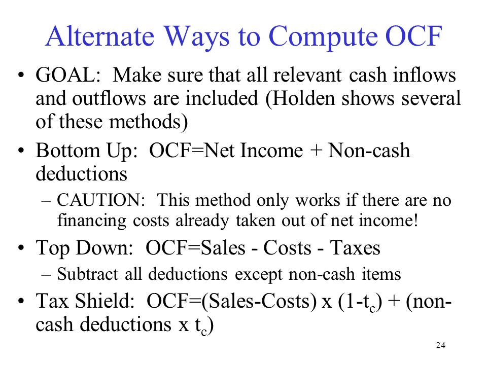 Alternate Ways to Compute OCF