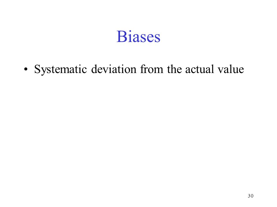 Biases Systematic deviation from the actual value