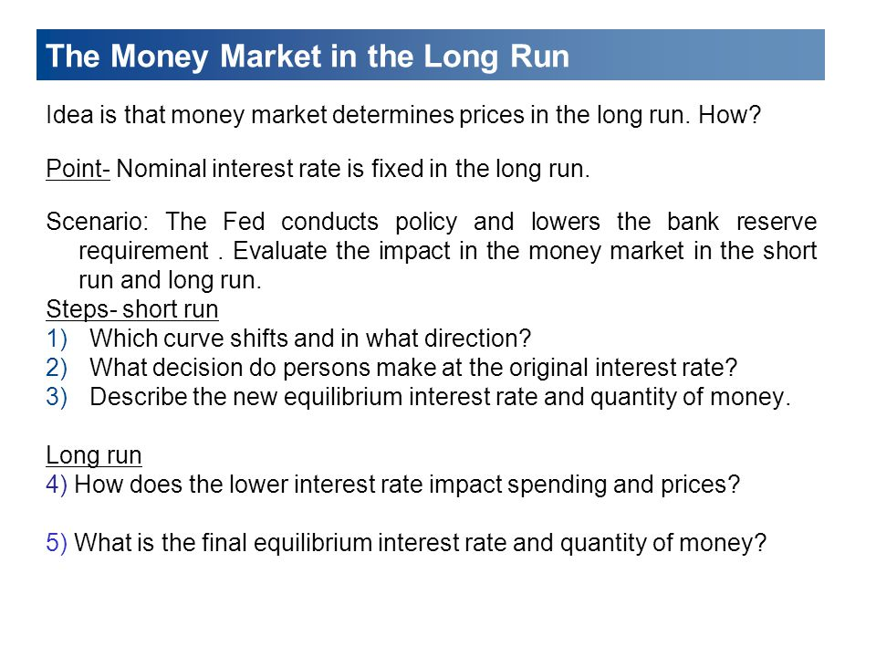 The Money Market in the Long Run