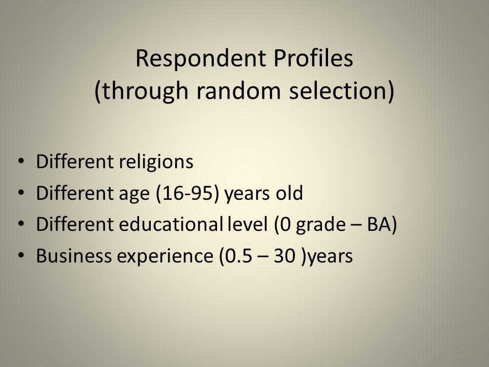 Respondent Profiles (through random selection)