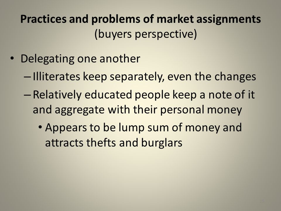 Practices and problems of market assignments (buyers perspective)