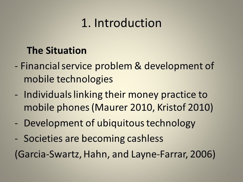 1. Introduction The Situation
