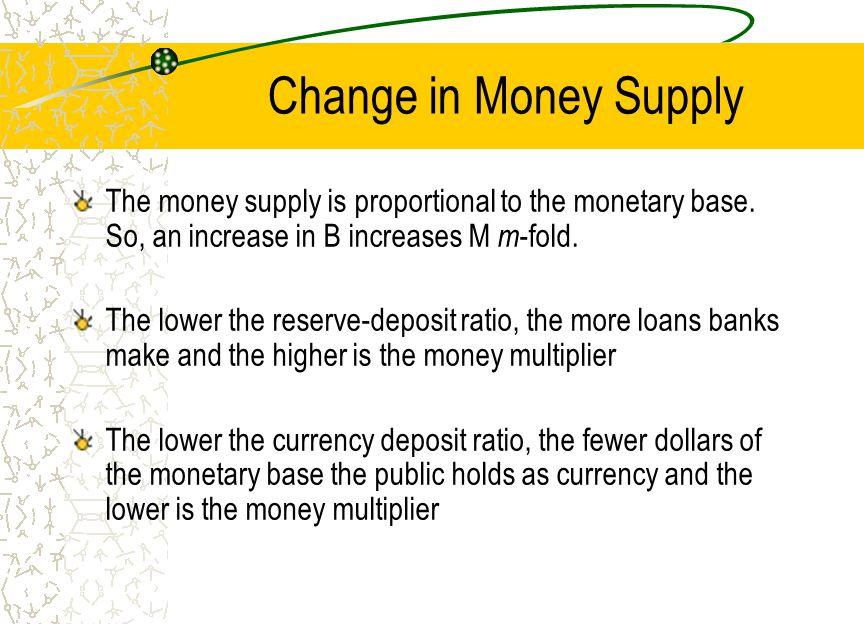 Change in Money Supply The money supply is proportional to the monetary base. So, an increase in B increases M m-fold.