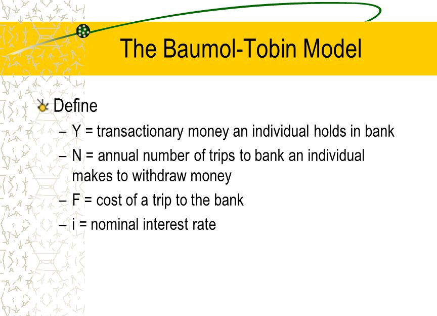 baumols model Step forward thebaumol model this works just like eoq for stock it tells you how much cash to order (sell investments / take from deposit account) at a time, in order to minimise holding (losing out on deposit interest) and order costs (cost of transferring cash / selling investments).