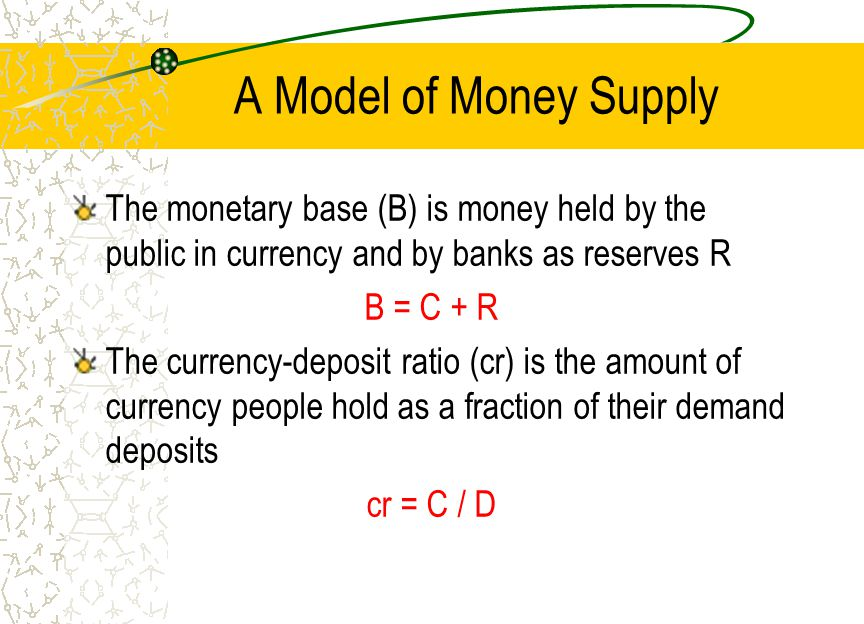 A Model of Money Supply The monetary base (B) is money held by the public in currency and by banks as reserves R.