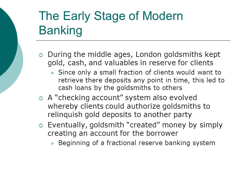 The Early Stage of Modern Banking