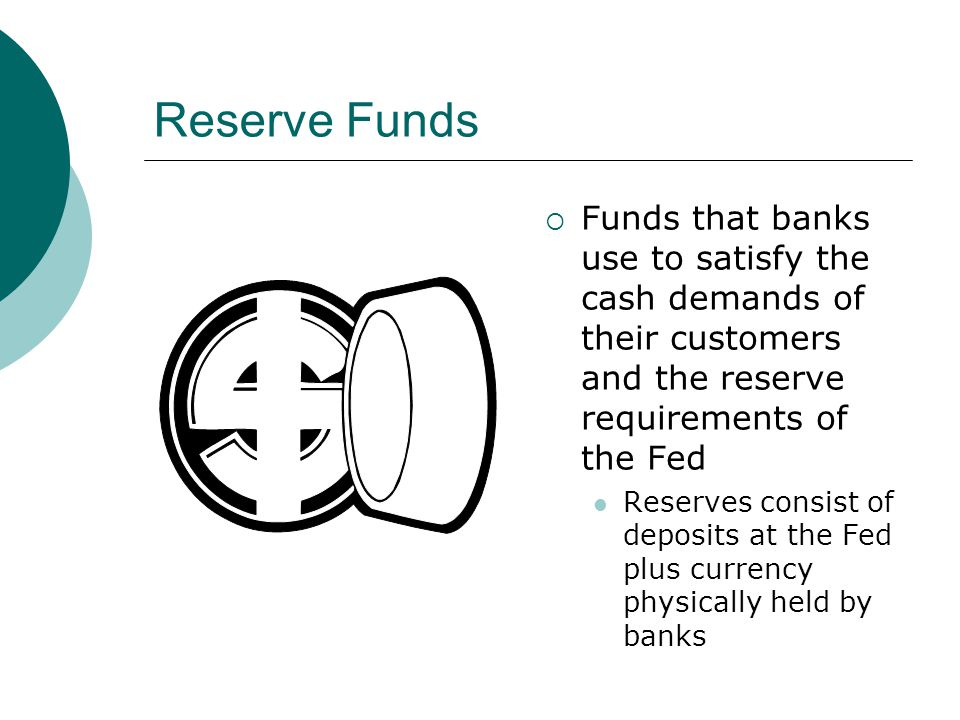 Reserve Funds Funds that banks use to satisfy the cash demands of their customers and the reserve requirements of the Fed.