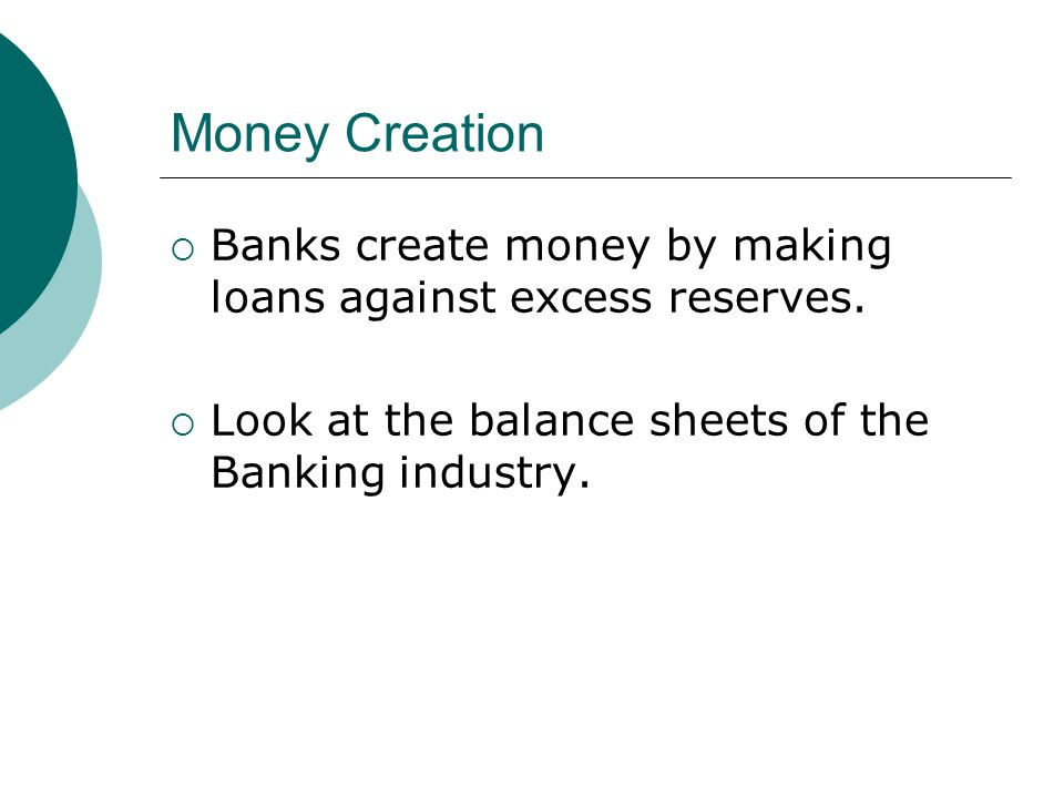 Money Creation Banks create money by making loans against excess reserves.