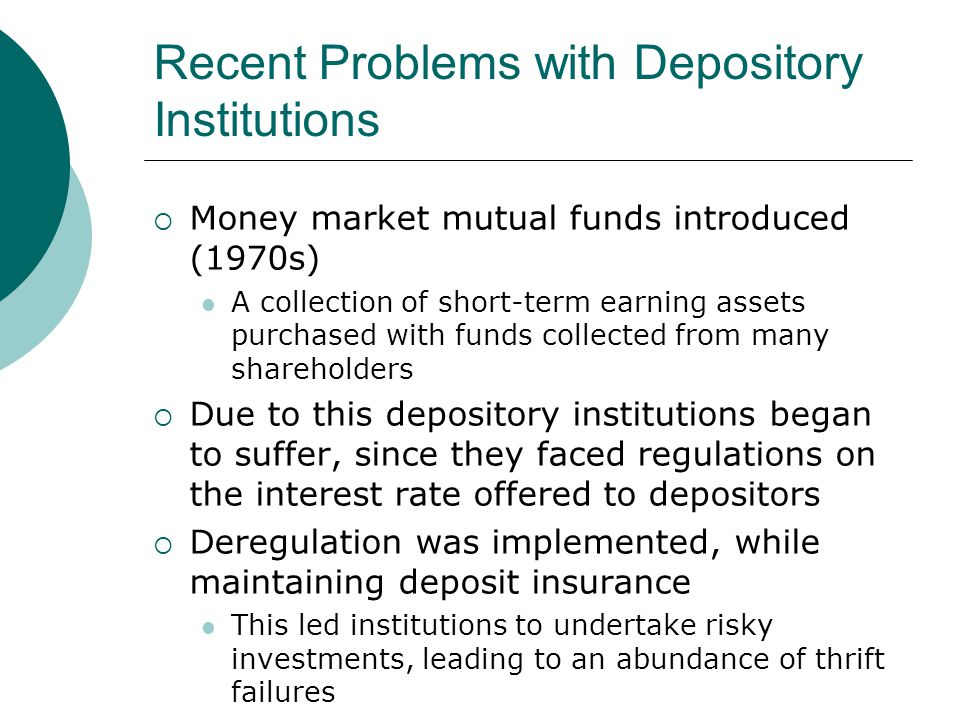 Recent Problems with Depository Institutions