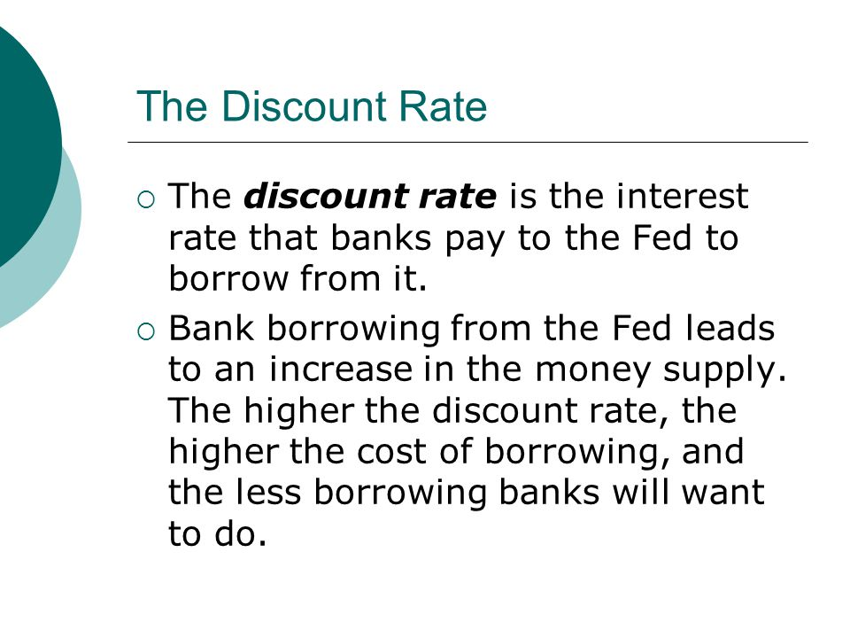 The Discount Rate The discount rate is the interest rate that banks pay to the Fed to borrow from it.