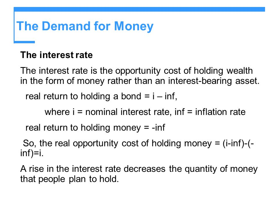 The Demand for Money The interest rate