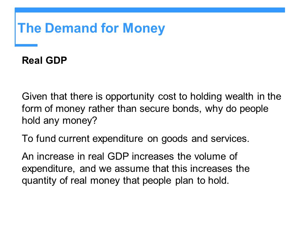 The Demand for Money Real GDP