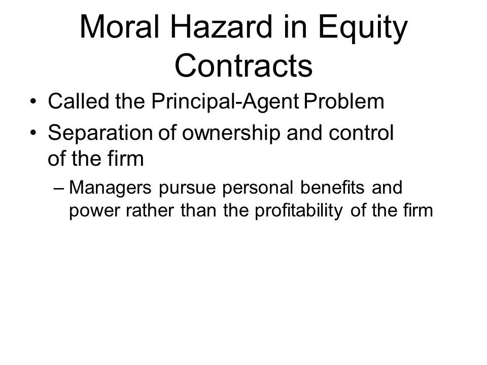Moral Hazard in Equity Contracts