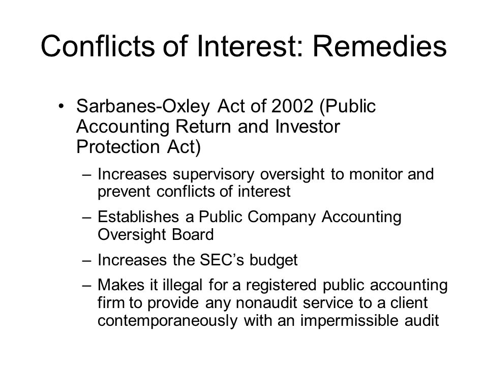 Conflicts of Interest: Remedies