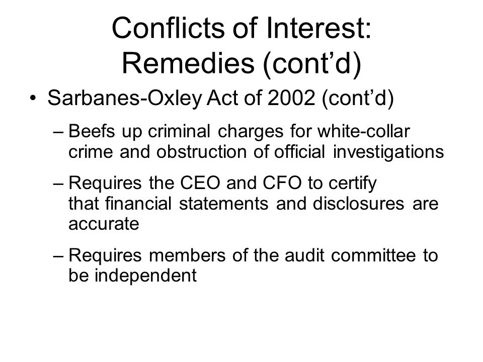 Conflicts of Interest: Remedies (cont'd)