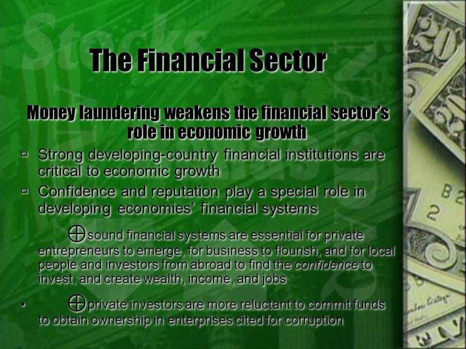 The Financial Sector Money laundering weakens the financial sector's role in economic growth.