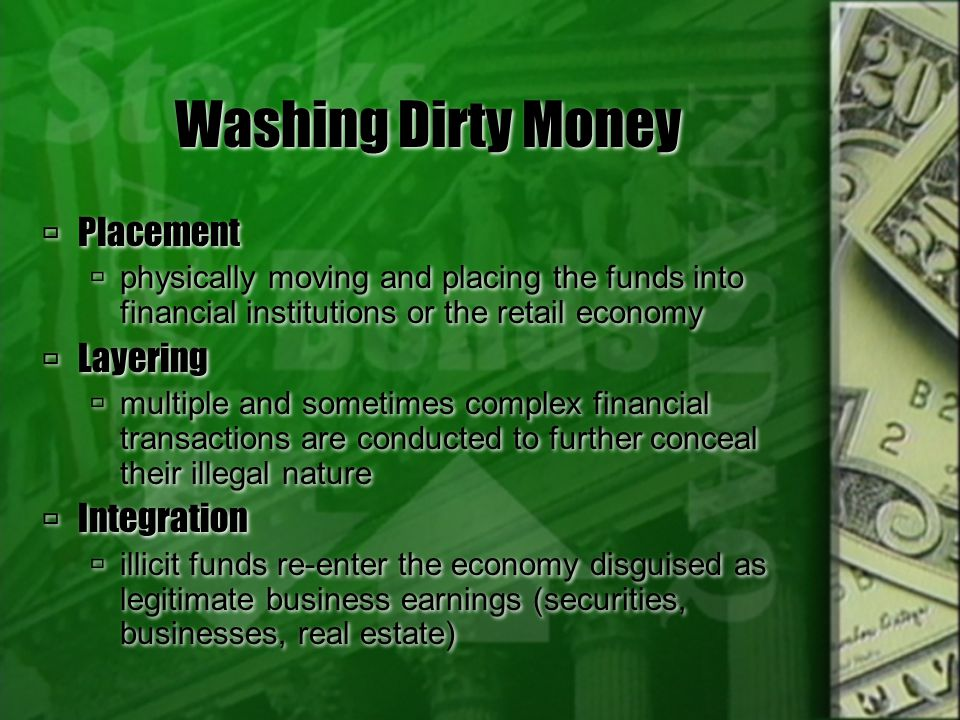 Washing Dirty Money Placement Layering Integration