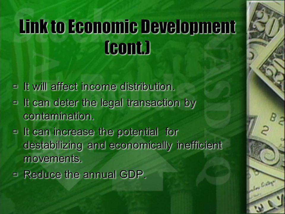 Link to Economic Development (cont.)
