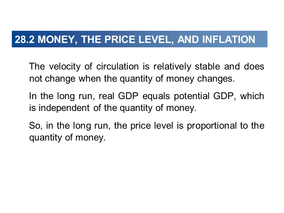 28.2 MONEY, THE PRICE LEVEL, AND INFLATION