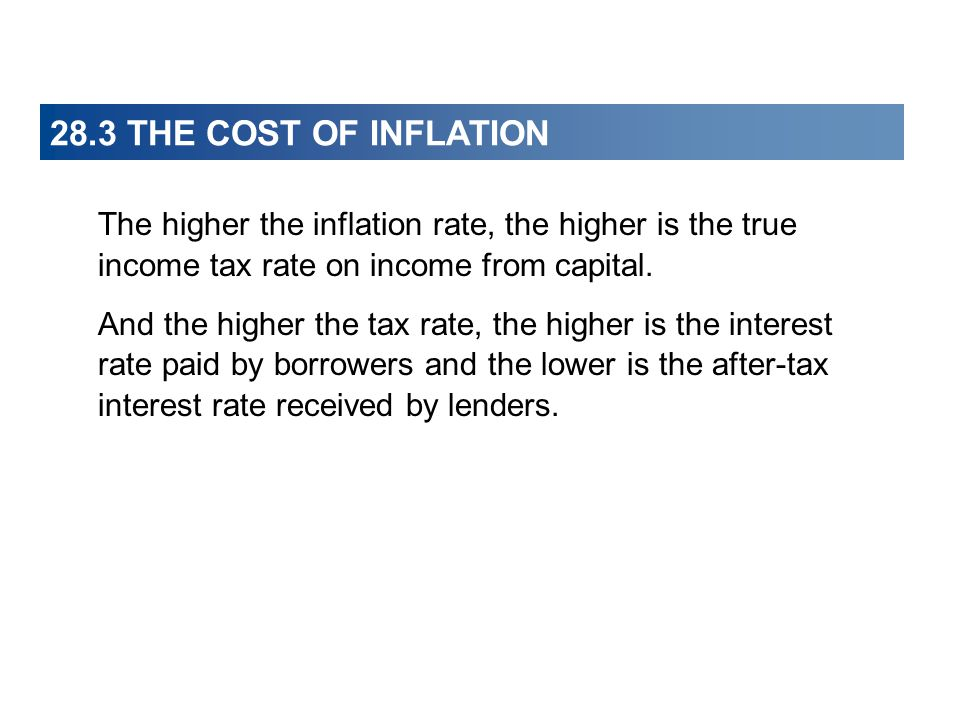 28.3 THE COST OF INFLATION The higher the inflation rate, the higher is the true income tax rate on income from capital.
