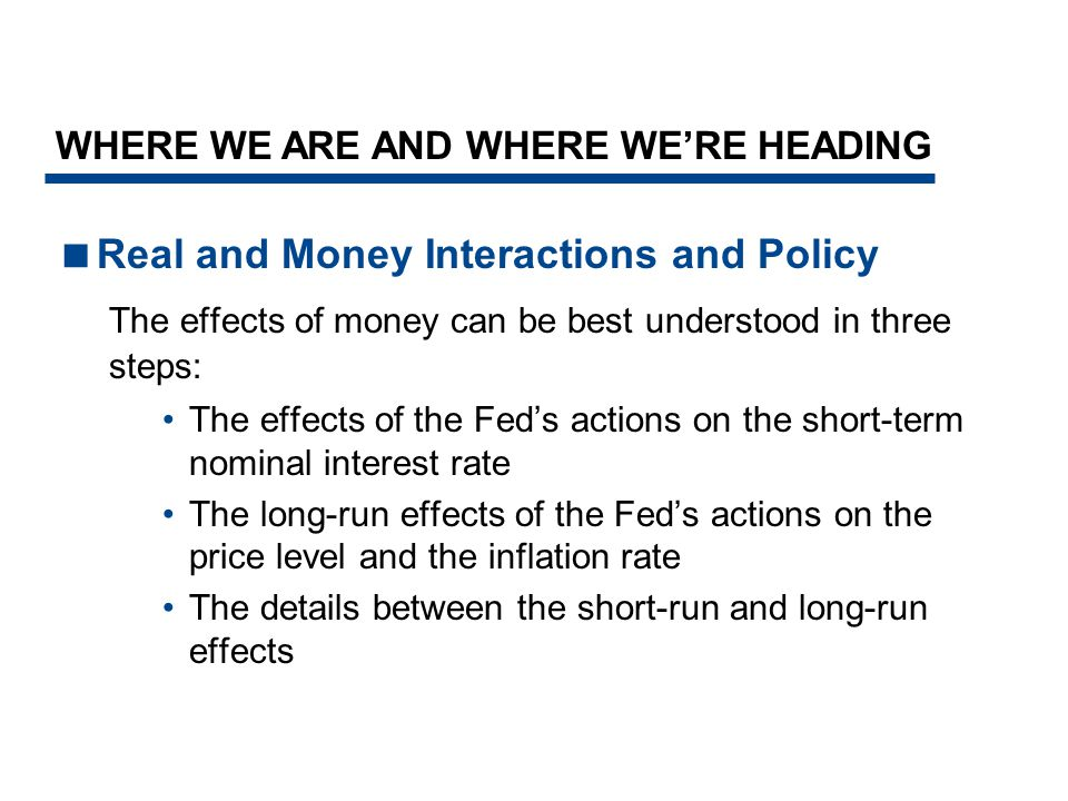 Real and Money Interactions and Policy