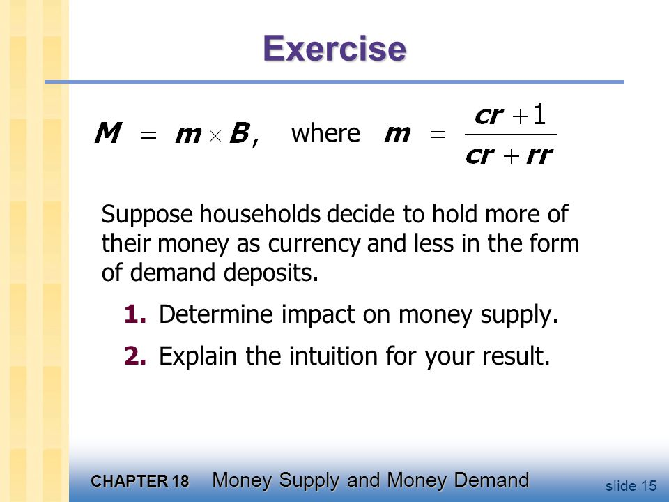 Solution to exercise Impact of an increase in the currency-deposit ratio cr > 0.