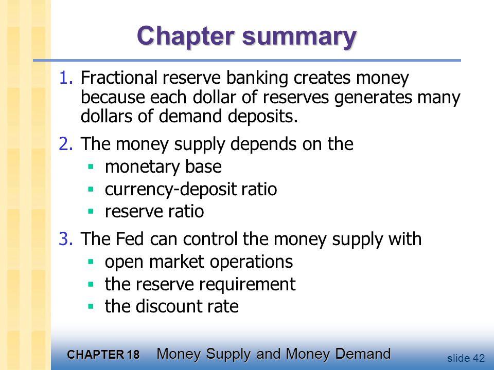 Chapter summary 4. Portfolio theories of money demand