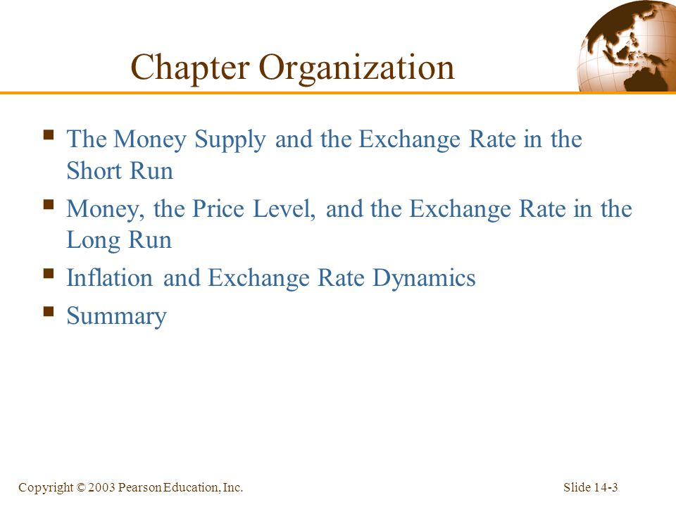Chapter Organization The Money Supply and the Exchange Rate in the Short Run. Money, the Price Level, and the Exchange Rate in the Long Run.