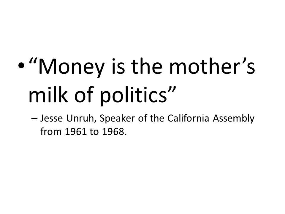 Money is the mother's milk of politics