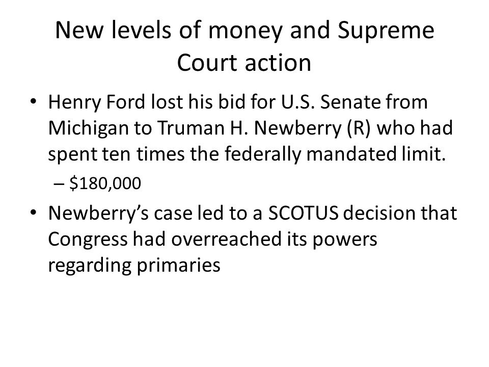New levels of money and Supreme Court action