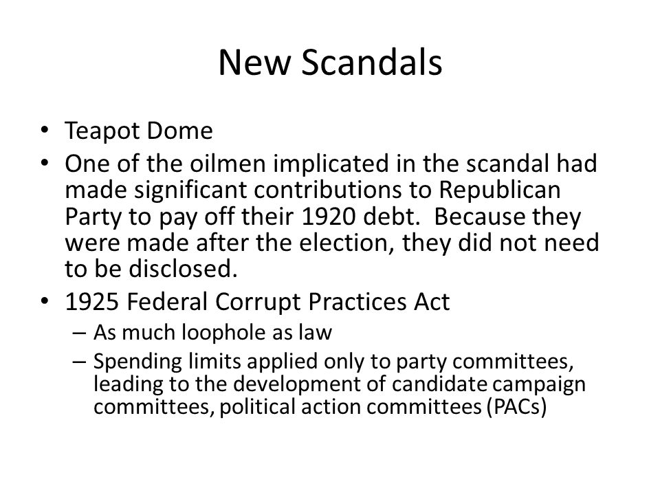 New Scandals Teapot Dome