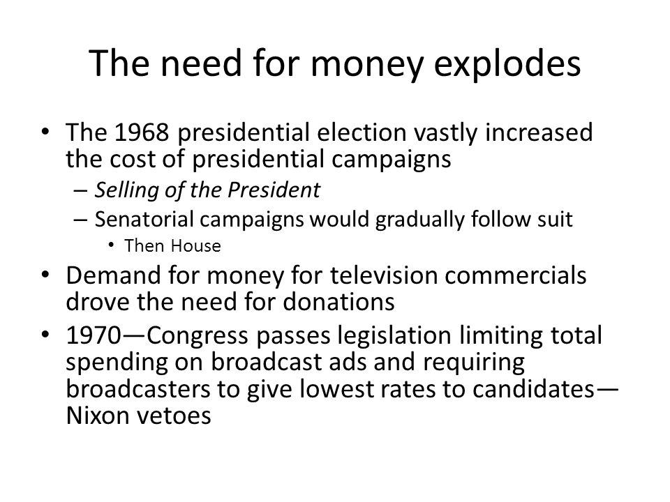 The need for money explodes