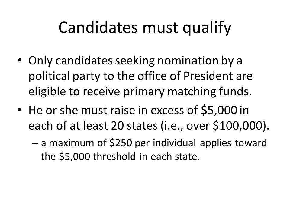 Candidates must qualify